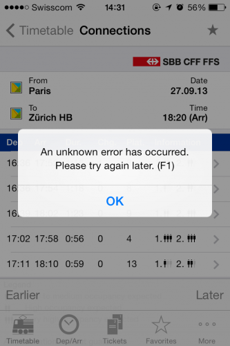 SBB error message